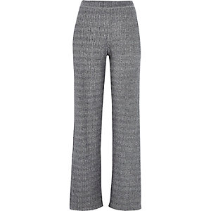 Grey ribbed wide leg pants