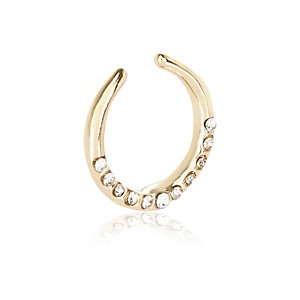Gold tone diamante nose cuff