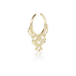 Gold tone filigree nose cuff