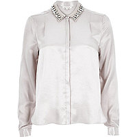 Silver sateen embellished collar blouse