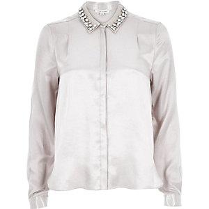 Silver sateen embellished collar shirt