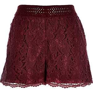 Dark red crochet shorts