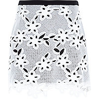 White lace mini skirt