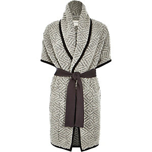 Grey wool-blend slouchy blanket jacket