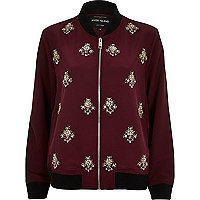 Dark red embellished bomber jacket