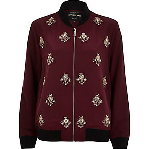 Dark red embellished bomber jacket
