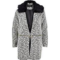 Cream zip trim faux fur jersey jacket