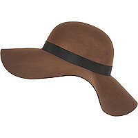 Dark brown wide brim floppy hat
