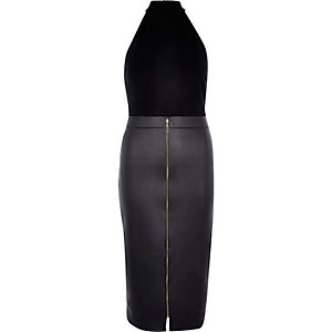 Black 2-in-1 sleeveless bodycon pencil dress