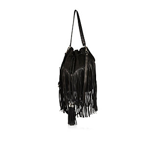 Black leather and suede fringed handbag