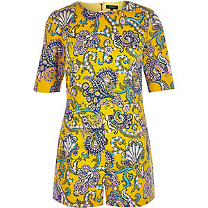 Yellow paisley print playsuit