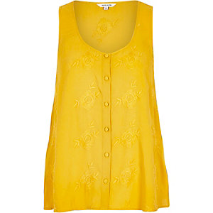 Yellow embroidered button up cami