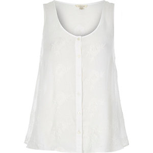 White embroidered button up cami top