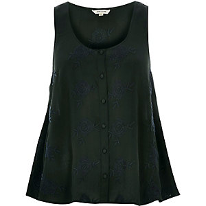 Dark green embroidered button up cami