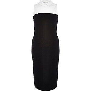 Black shirt top sleeveless bodycon dress