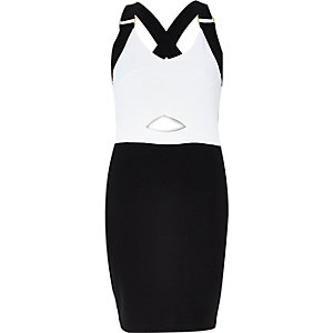 White and black cut out bodycon mini dress