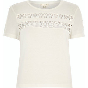 Cream crochet panel t-shirt