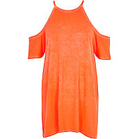 Orange burnout cold shoulder oversized t-shir