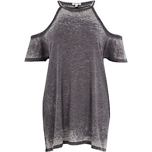Grey burnout cold shoulder oversized t-shirt