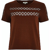 Dark orange crochet panel t-shirt