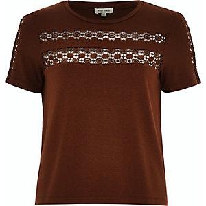 Dark orange crochet panel t-shirt