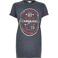 Grey vintage festival print oversized t-shirt