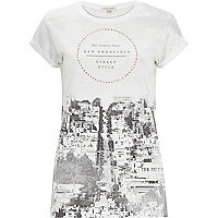White San Francisco gem fitted t-shirt