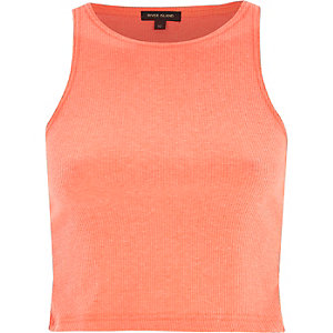 Coral ribbed racer back crop top