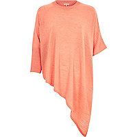 Coral asymmetric linen-blend t-shirt