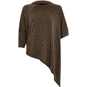 Khaki asymmetric metallic top
