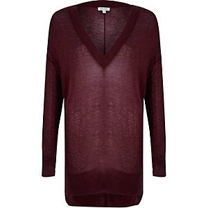Dark purple sheer V-neck slouchy jumper