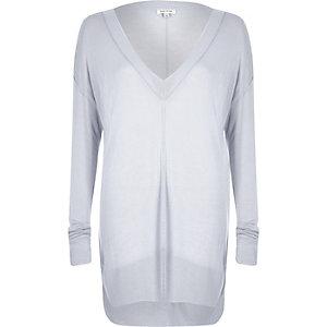 Grey sheer V-neck slouchy knitted jumper