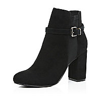 Black faux-suede block heel ankle boots