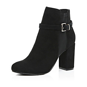 Black faux-suede block heel ankle boots