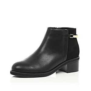Black strap ankle boots
