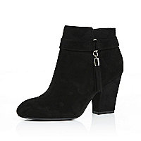 Black tassel trim ankle boots