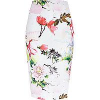 Pink floral print jersey pencil skirt