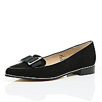 Black bow front flats