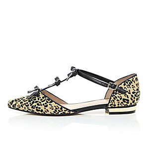 Brown leopard print bow front ballet shoes