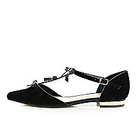Black bow front ballet shoes