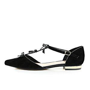 Black bow front ballet shoes
