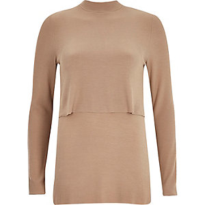 Brown ribbed double layer turtle neck top