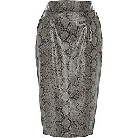 Black snake print leather-look pencil skirt