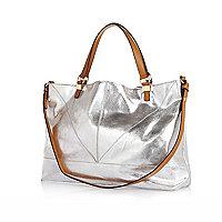 Silver metallic contrast handle shopper bag