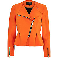Orange asymmetric peplum jacket