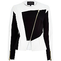 White splice peplum scuba jacket