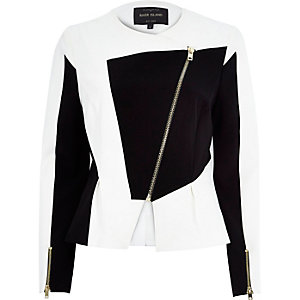 White splice peplum scuba jacket