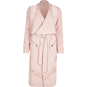 Pink crepe lace panel trench coat