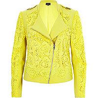 Yellow lace biker jacket