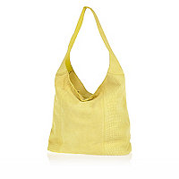 Yellow leather snake print slouch bag